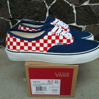 Vans authentic checker board navy red premium dt bnib
