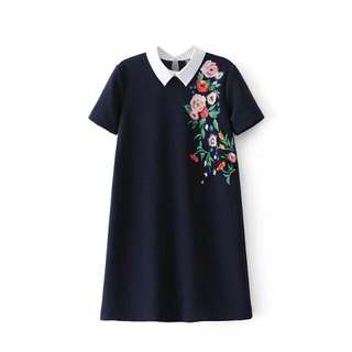 Blue Coloured Floral Embroidery Peterpan Collared Dress