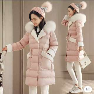 Sweet pink with white fur chic jacket Winter Trench slim waist thick quality coat