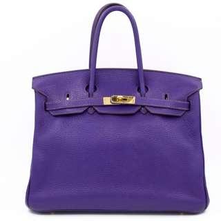 (second hand)Hermes BIRKIN 35 TOGO 35CM TOTE BAG GHW, IRIS / CC9K 二手 手袋 紫色