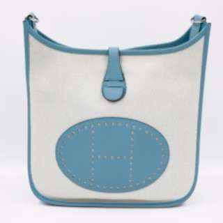 (second hand)Hermes H066741CKAE EVELYNEI 29 PM CANVAS 29 SHOULDER BAG PHW, ECRU-BLUE ATOLL / BLUE ATOLL / CKAE 二手 手袋 藍色 白色