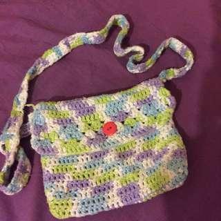 Vintage knitted side sling bag