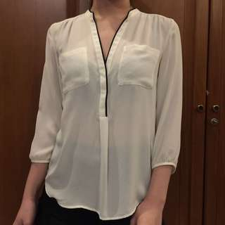 H&M broken white with line shirt