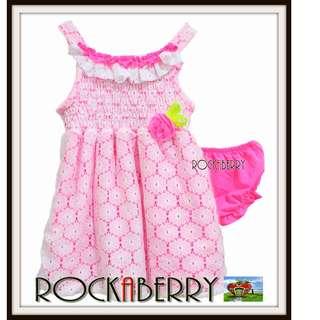 Rare Editions Bright Pink Eyelet Smocked Girl's Dress