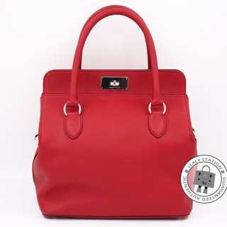 (second hand)Hermes TOOLBOX 26 EVERGRAIN (26) SHOULDER BAG PHW, VERMILLION / CK5E 二手 手袋 紅色