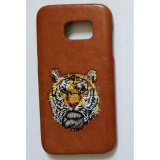 Leather tiger Samsung Galaxy S7 Phone Case  老虎刺繡皮三星S7電話殼