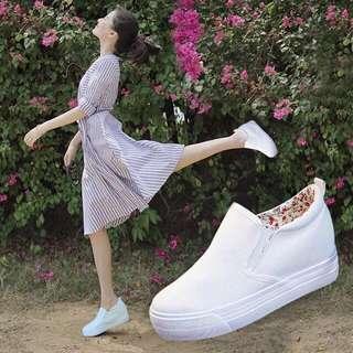 White Korean Hidden Wedge Slip On Shoes