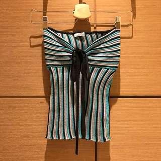 藍色條紋針織平口上衣#換季五折