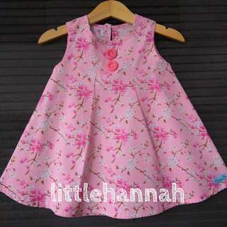 Last piece - Baby Toddler Girl Cotton Button Pink Dress