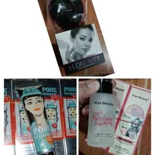 HUDA beauty Face Powder (available 2 shade), Benefit Pore Serum, Kiss Beauty