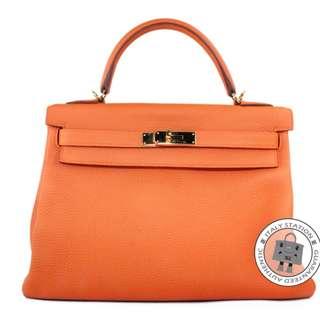 (second hand)Hermes KELLY TOGO 32 TOTE BAG GHW, ORANGE / CK93 二手 手袋 橙色 金扣