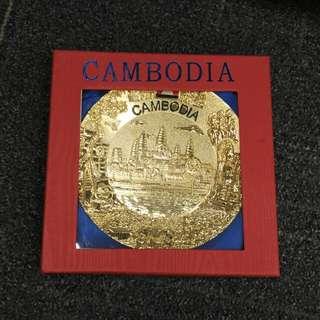 [BN] Cambodia display plague souvenir | gold colour