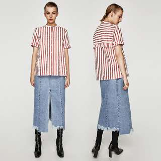 ZARA Red White Striped Oversized Top