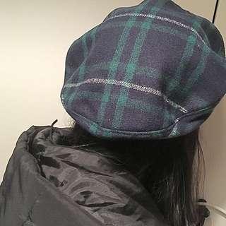 「現貨」日本帶回🇯🇵 綠色格紋 格子 毛料貝蕾帽 貝雷帽 百搭