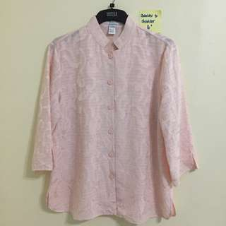 🎀 Baby Pink Textured Chinese Collar Top