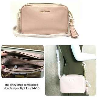 Michael Kors ginny large camera bag double zip soft pink sz 24x16