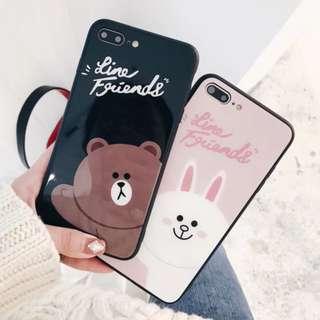 手機殼IPhone6/7/8/plus/X : 可愛小熊兔LINEFRIENDS鏡面玻璃包邊軟殼
