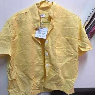 全新 黃色短袖襯衫