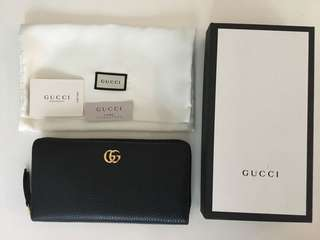 BNIB Authentic GUCCI Leather Zip Around Wallet Black Gold RRP$670