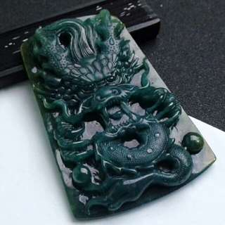 🎍Grade A 水润 Prosperity Dragon 招财祥龙 Jadeite Jade Pendant/Display🎍