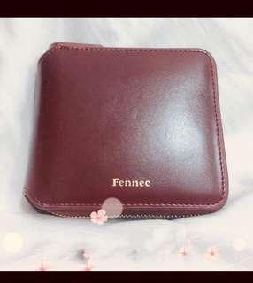 韓國fennec酒紅色銀包