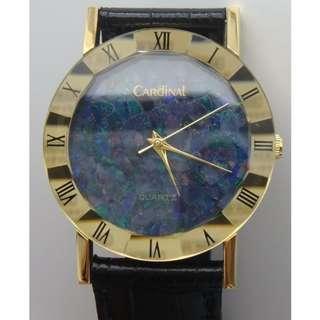 CARDINAL- opal面 + 十二角形水晶錶面 金色圍邊帶羅馬字 石英皮帶錶
