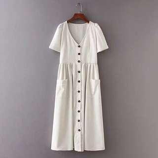 Vintage Button Maxi Dress
