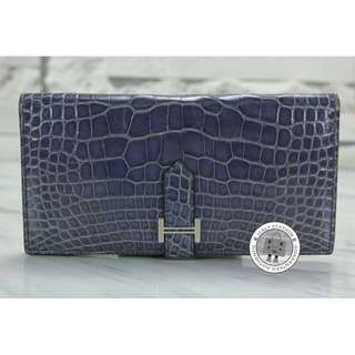 (second hand)Hermes (THIN) PORTEFEUILLE BEARN SOUFFLET SHINY ALLIGATOR CROCODILE LONG WALLET PHW, BLEU BRIGHTON / CK7E 二手 銀包 藍色 銀扣