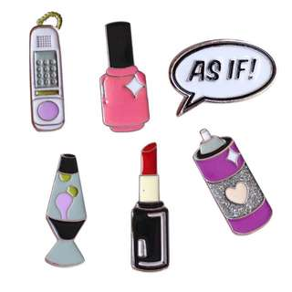 #55 tumblr girl lipstick phone nail polish enamel pin | po