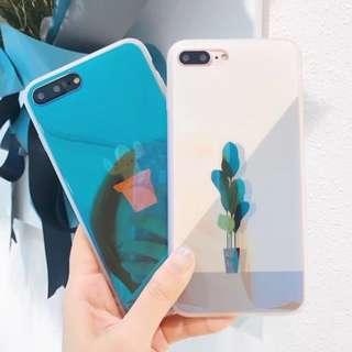 手機殼IPhone6/7/8/plus/X : 夏日仙人掌藍光全包邊軟殼