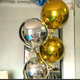 Helium silver gold balloons orbs balloons