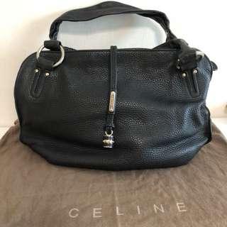Authentic Celine black medium hobo leather bag