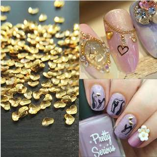 Free Shipping 250Pcs Punk Rivet Golden Silver MINI lovely heart shape Metal Nail Art Metallic Studs