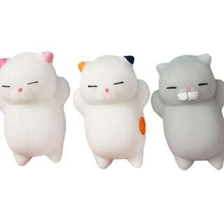 (PRE-ORDER) 3PCS CUTE KAWAII SOFT TPR CARTOON CAT SQUISHY TOY FOR STRESS RELIEVE