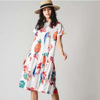 (PO) Evelyn Tropical Printed Dress