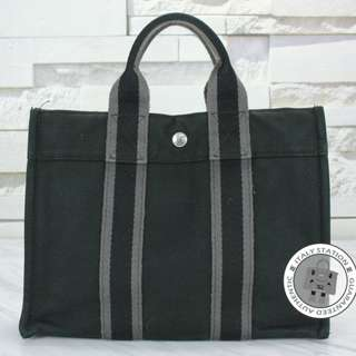(second hand)Hermes  HERLINE CANVAS SMALL TOTE BAG PHW, BLACK 二手 手袋 黑色 銀扣