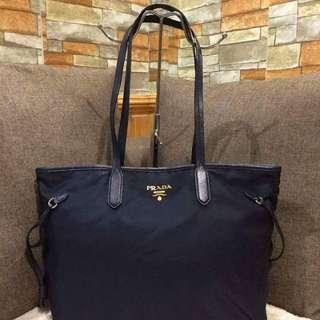 Prada Tessuto Navy Blue Nylon Saffiano Leather Tote