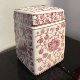 Ceramic pink / white container (6 x 4 inches )