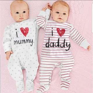 ❤INSTOCK❤ I love Mummy/ I love Daddy Sleepsuits