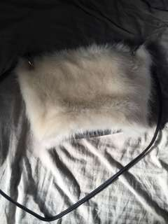 Cream fur side bag