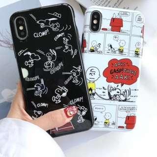 手機殼IPhone6/7/8/plus/X : 史努比Snoopy全包黑邊光面軟殼