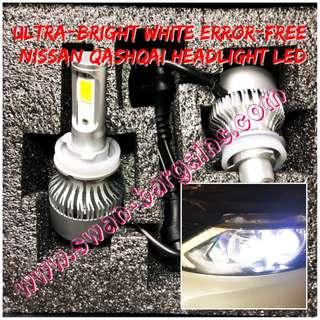 Ultra-Bright Day Light White Plug-n-Play Nissan Qashqai (2014-) LED Conversion Lamp Kit Waterproof Headlight Foglight Bulb
