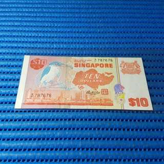 787676 Singapore Bird Series $10 Note B/81 787676 Nice Number Dollar Banknote Currency HSS