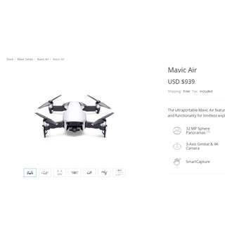 DJI MAVIC AIR IN THE BOX