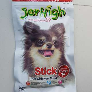 Jerhigh dog treats(3 packets) & 2 food samples