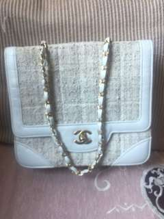 Chanel tweed vintage flap bag