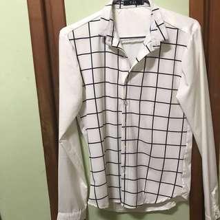 🚚 格紋 白襯衫