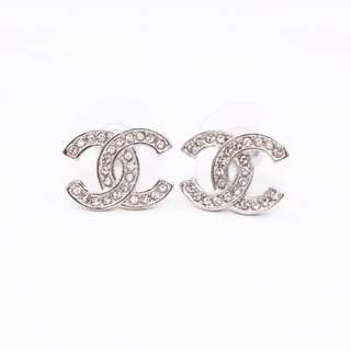 (NEW) Chanel A98011 Y02003 CC CRYSTAL METAL EARRINGS, SILVER 全新 耳環 銀色