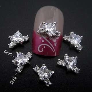10pcs  heart nail ring on nail 3d alloy nails art decoration DIY zircon nail jewelry YNS122