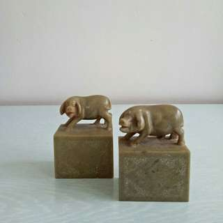 Vintage shou shan stone carving pig height 9cm length 6.5cm perfect condition 2pcs $170